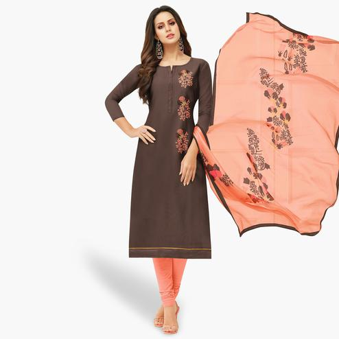 Surpassing Brown Colored Party Wear Chanderi Silk Salwar Suit