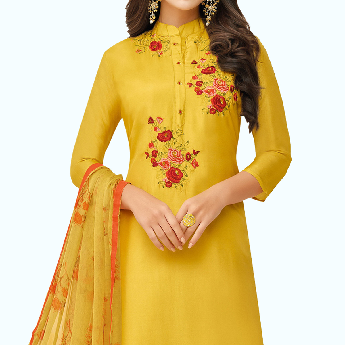 Intricate Yellow Colored Party Wear Chanderi Silk Salwar Suit