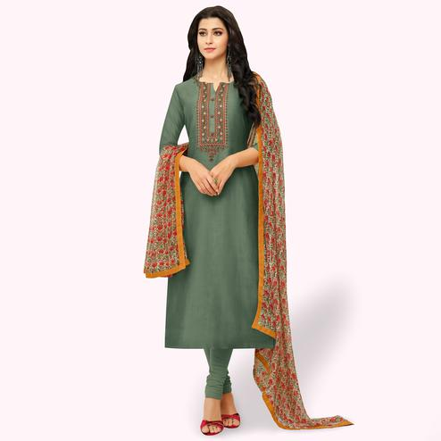 Desirable Dark Green Colored Party Wear Chanderi Silk Salwar Suit