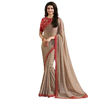 Graceful Multi Colored Designer Partywear Printed Georgette Saree With Embroidered Blouse
