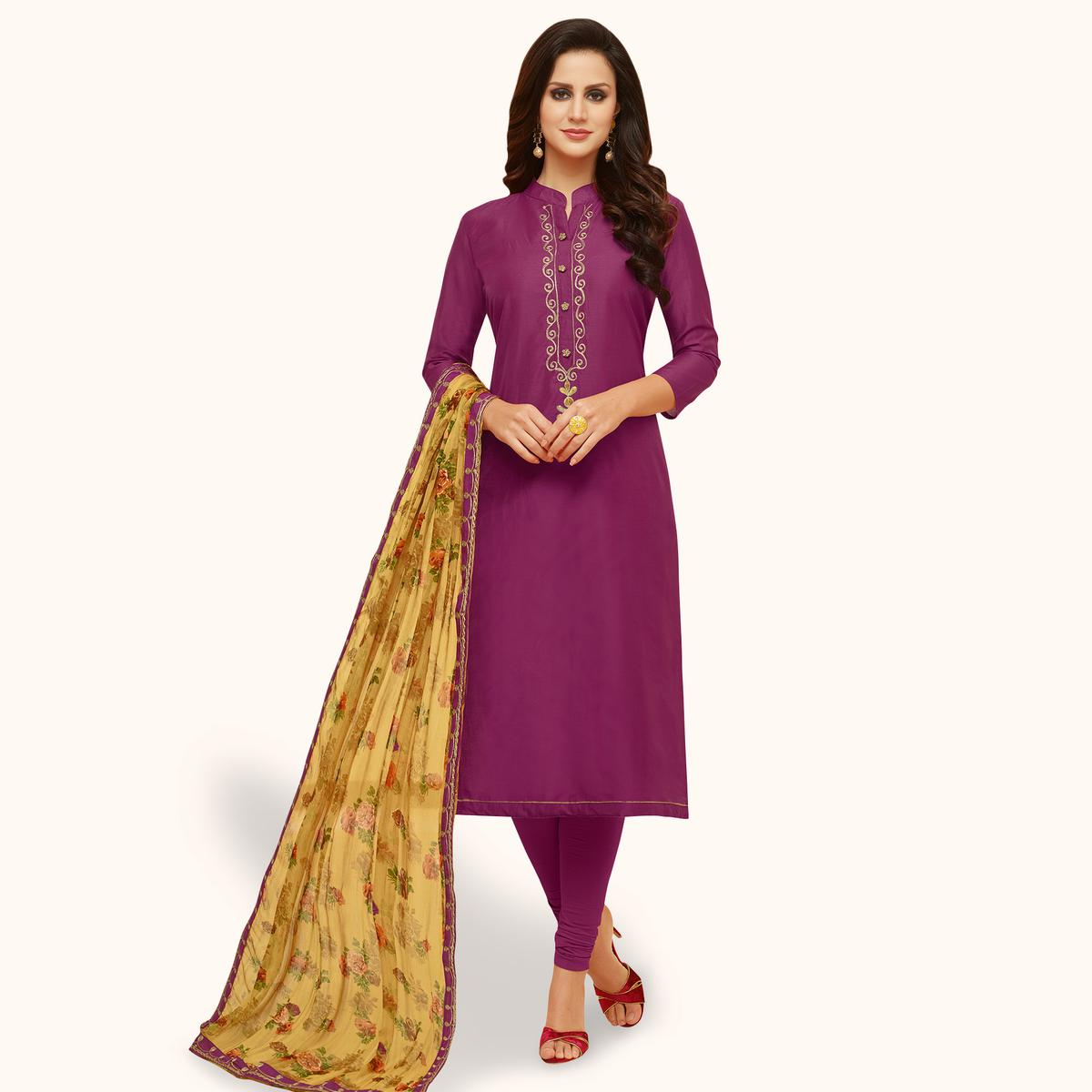 Exotic Purple Colored Party Wear Chanderi Silk Salwar Suit