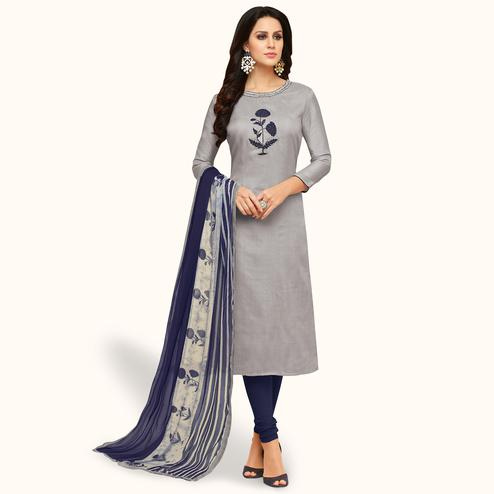 Sophisticated Gray Colored Party Wear Chanderi Silk Salwar Suit