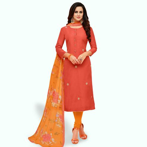 Trendy Coral Red Colored Party Wear Chanderi Silk Salwar Suit