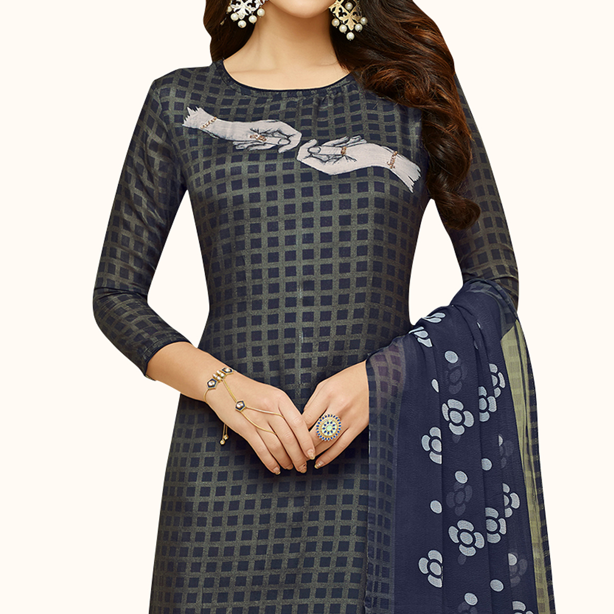 Elegant Navy Blue Colored Party Wear Chanderi Silk Salwar Suit