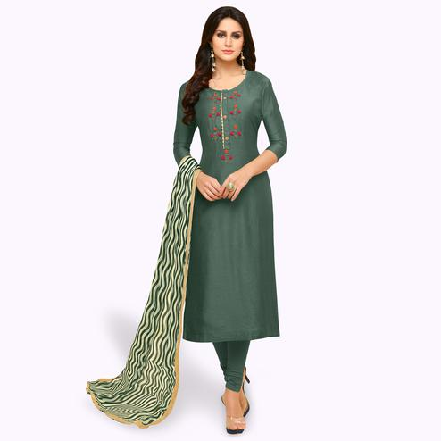 Pleasant Bottle Green Colored Party Wear Chanderi Silk Salwar Suit