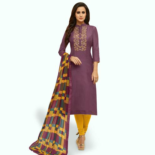 Glowing Wine Colored Party Wear Chanderi Silk Salwar Suit