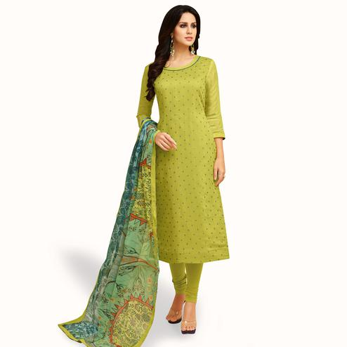 Exceptional Green Colored Party Wear Chanderi Silk Salwar Suit