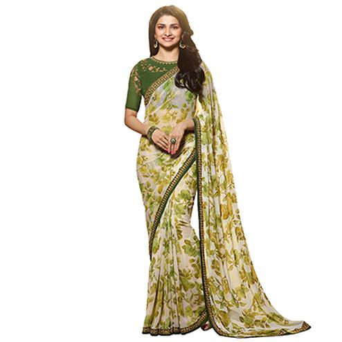 Gorgeous Green Designer Partywear Printed Georgette Saree With Embroidered Blouse