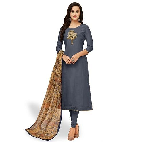 Gleaming Gray Colored Party Wear Chanderi Silk Salwar Suit