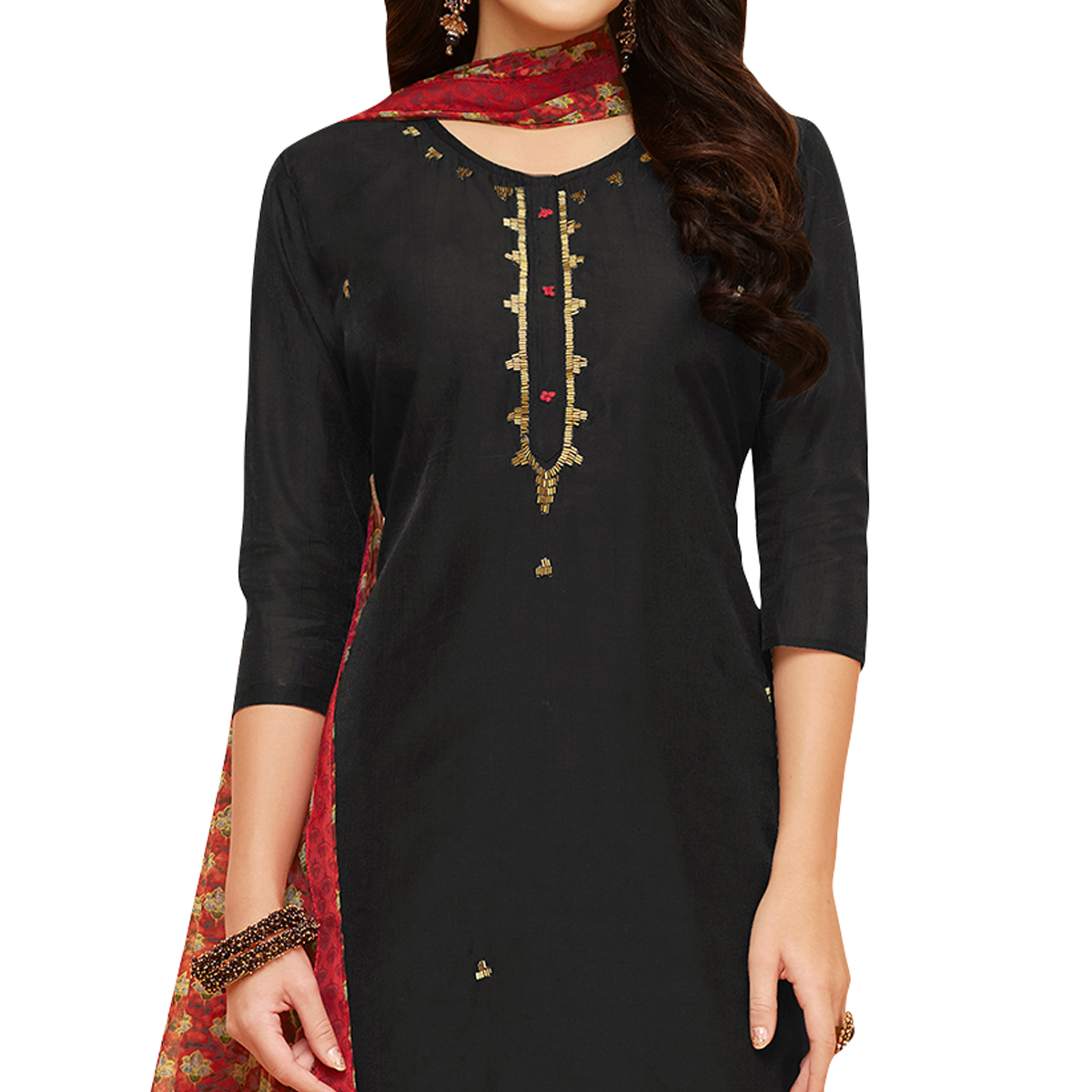 Mesmeric Black Colored Party Wear Chanderi Silk Salwar Suit