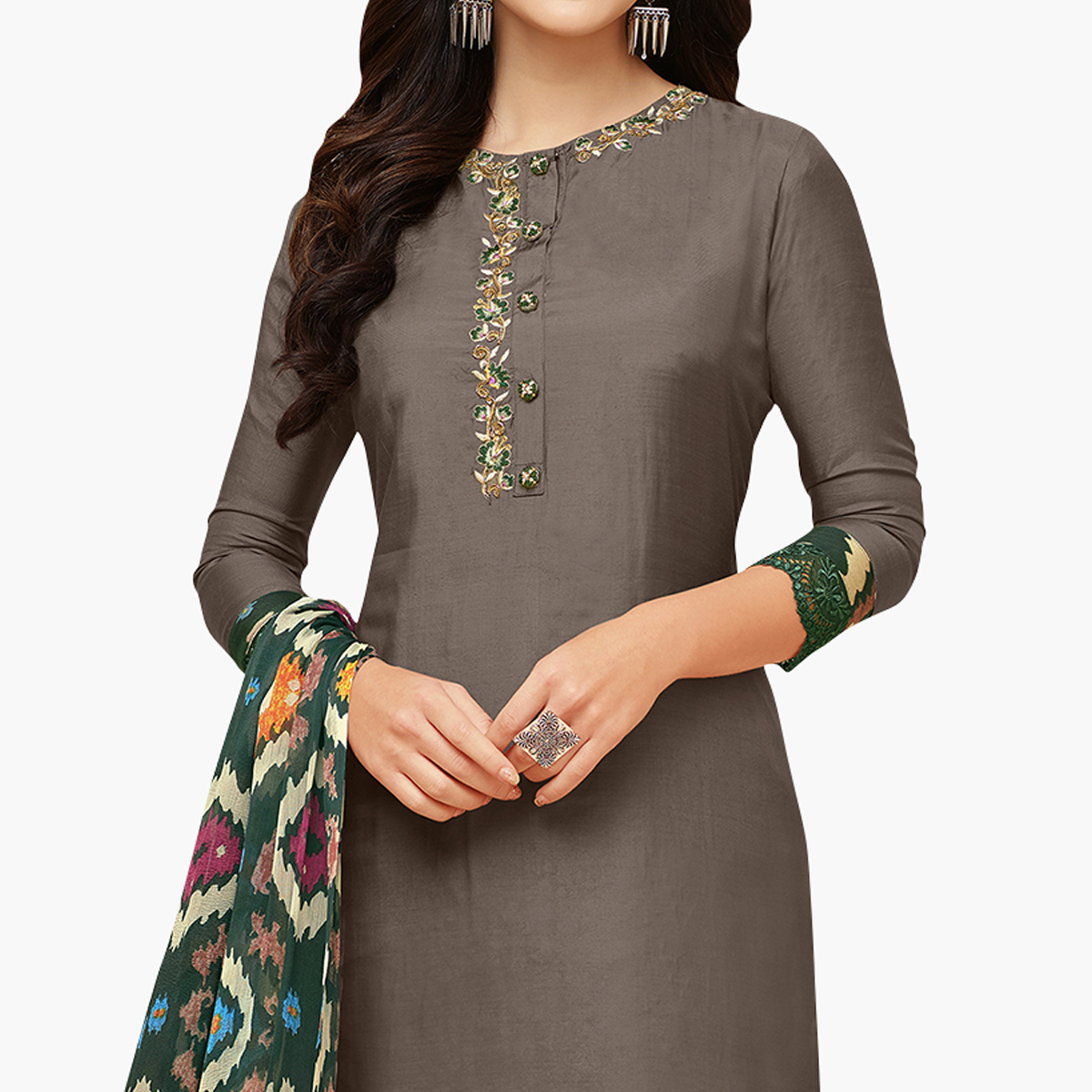 Hypnotic Dark Gray Colored Party Wear Chanderi Silk Salwar Suit