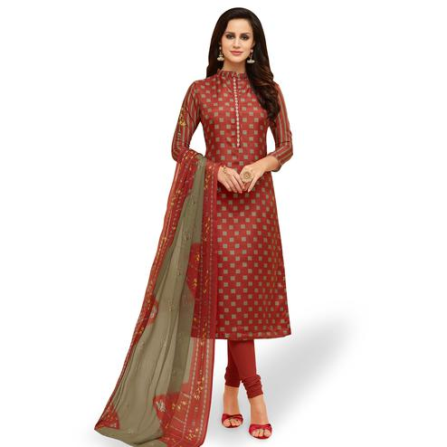 Refreshing Maroon Colored Party Wear Chanderi Silk Salwar Suit