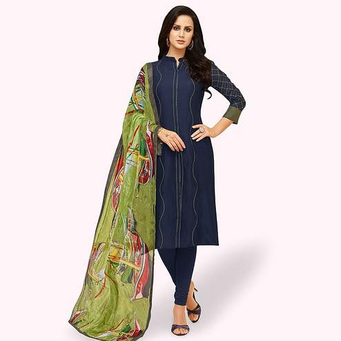 Magnetic Navy Blue Colored Party Wear Chanderi Silk Salwar Suit