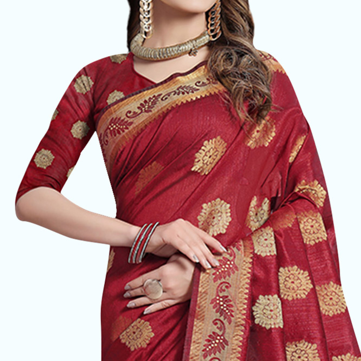Intricate Red Colored Festive Wear Woven Cotton Silk Saree