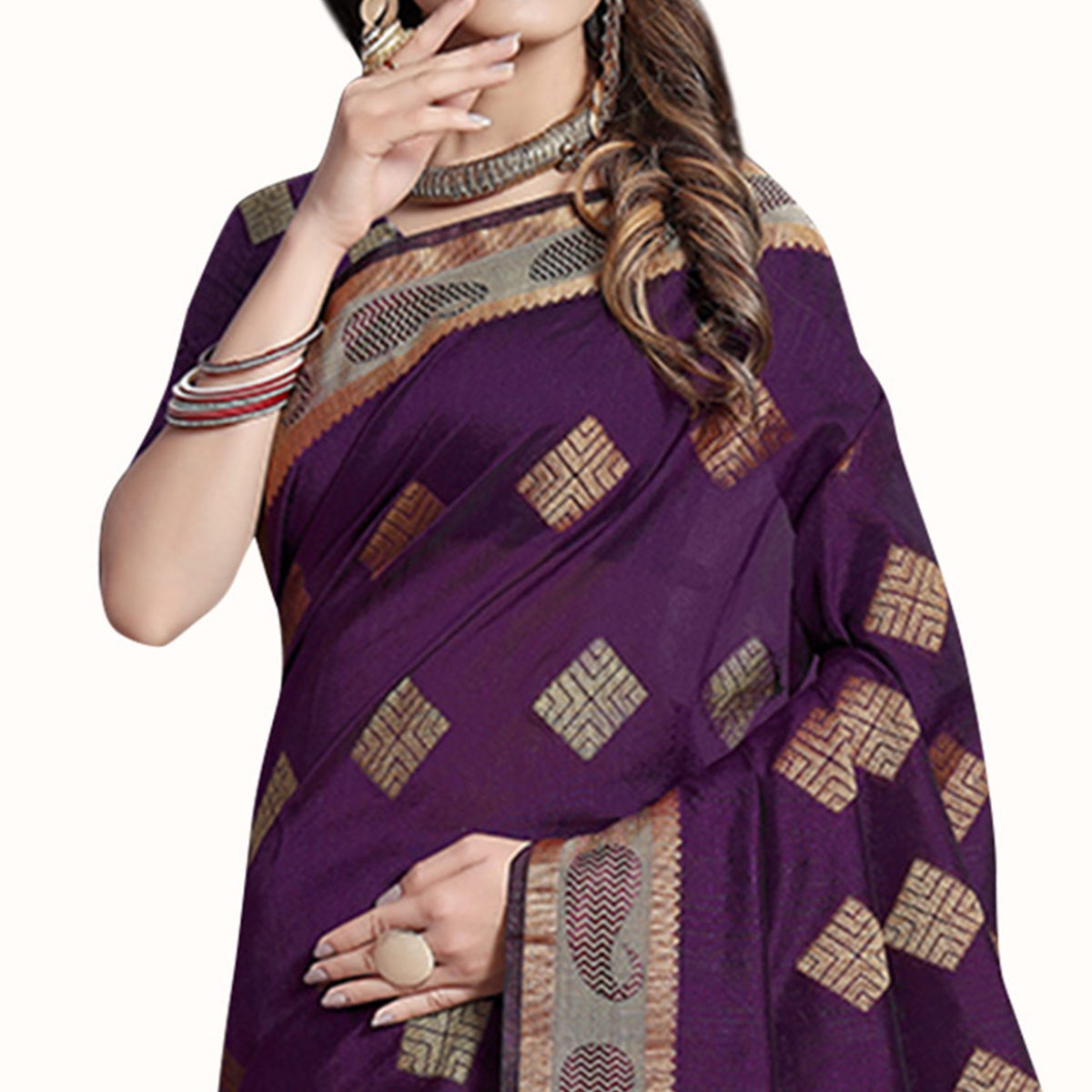 Arresting Dark Purple Colored Festive Wear Woven Cotton Silk Saree