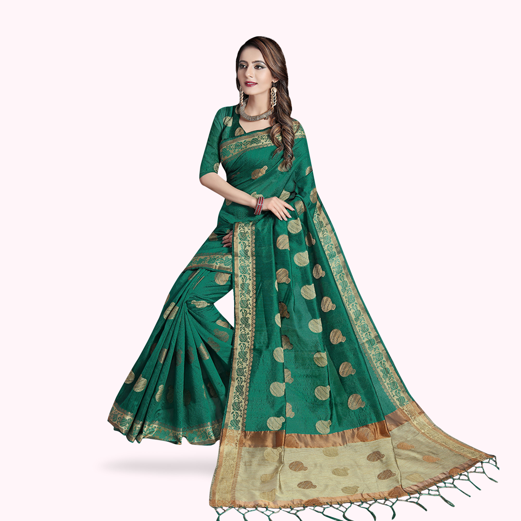 Desirable Green Colored Festive Wear Woven Cotton Silk Saree