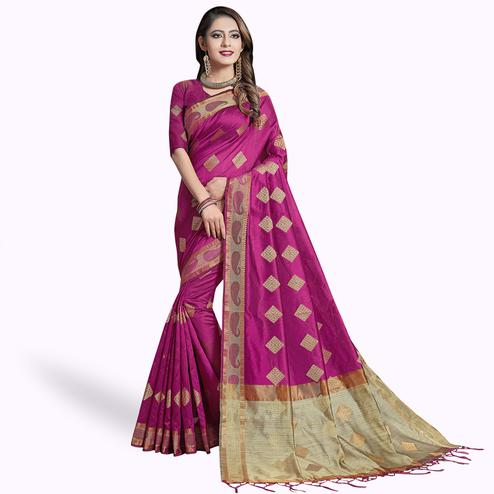 Exotic Pink Colored Festive Wear Woven Cotton Silk Saree