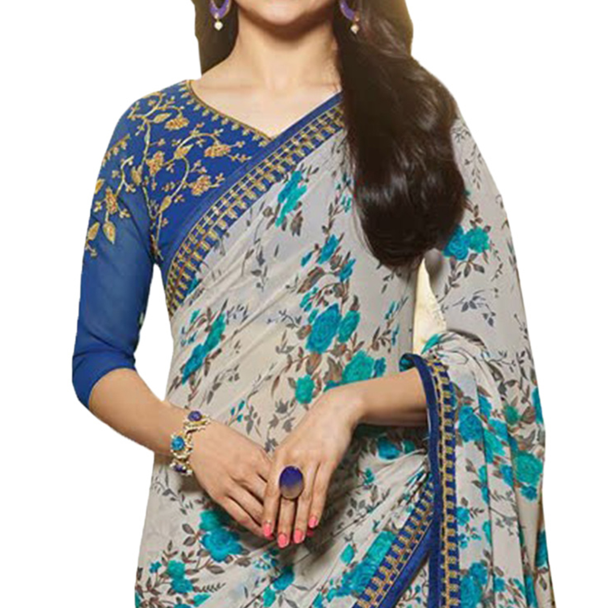 Charming Blue Designer Partywear Printed Georgette Saree With Embroidered Blouse