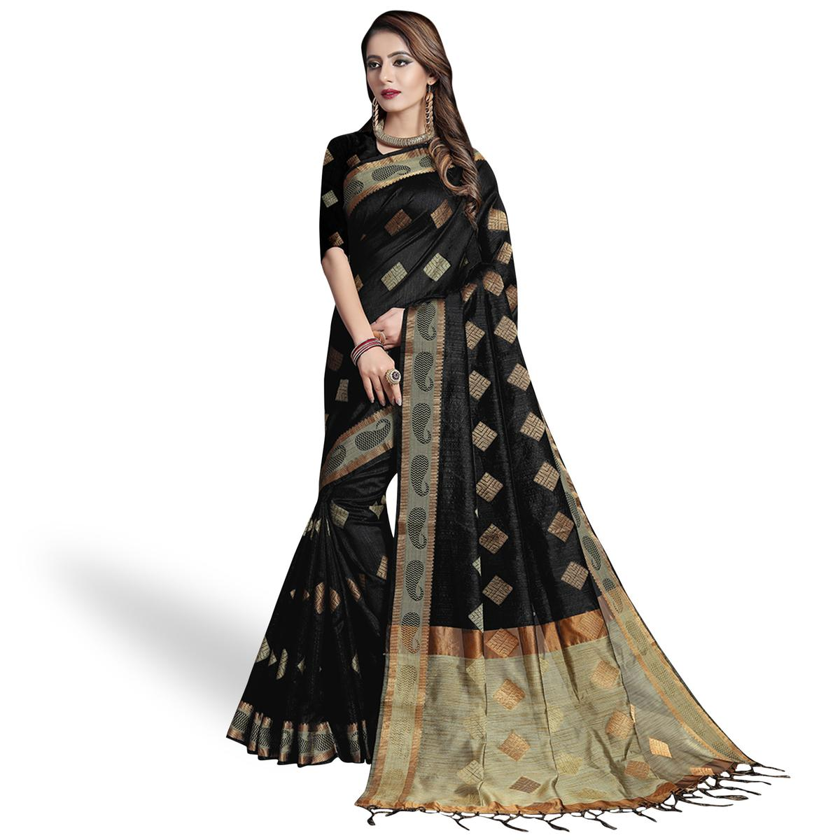 Elegant Black Colored Festive Wear Woven Cotton Silk Saree