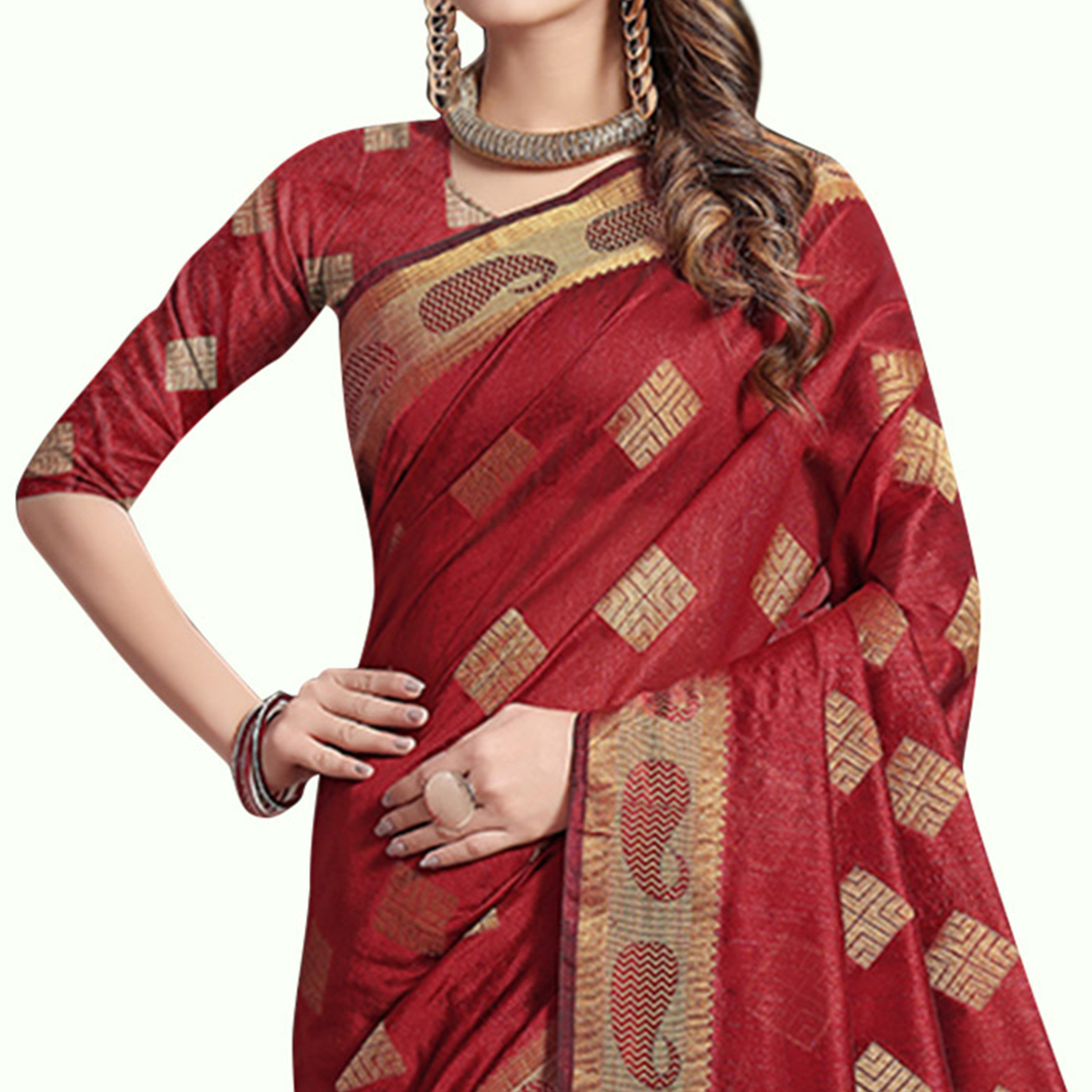 Radiant Red Colored Festive Wear Woven Cotton Silk Saree