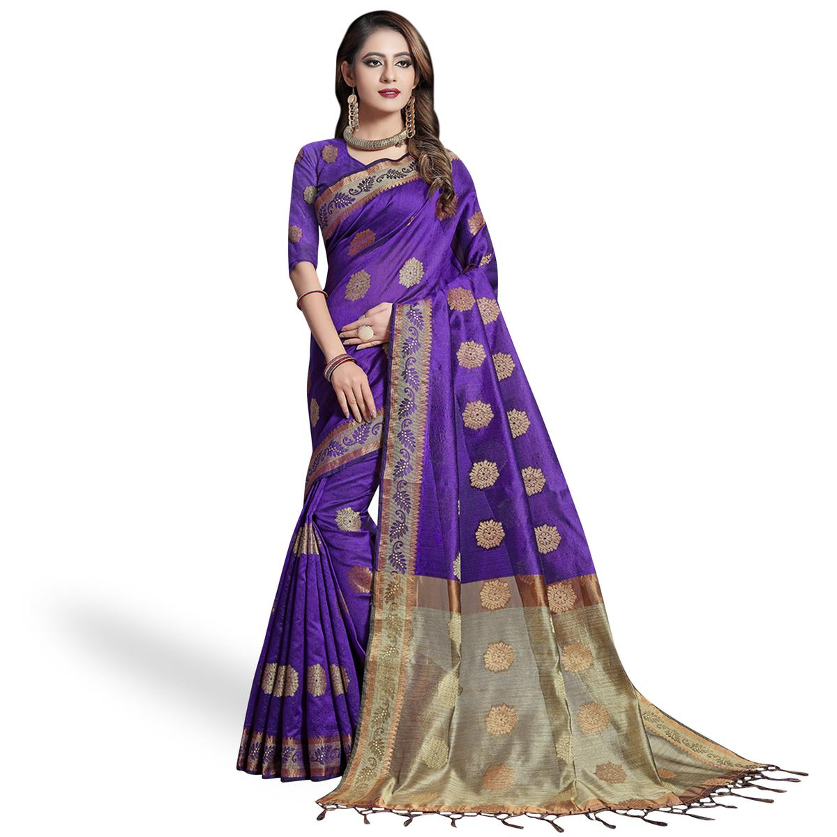Pleasant Purple Colored Festive Wear Woven Cotton Silk Saree
