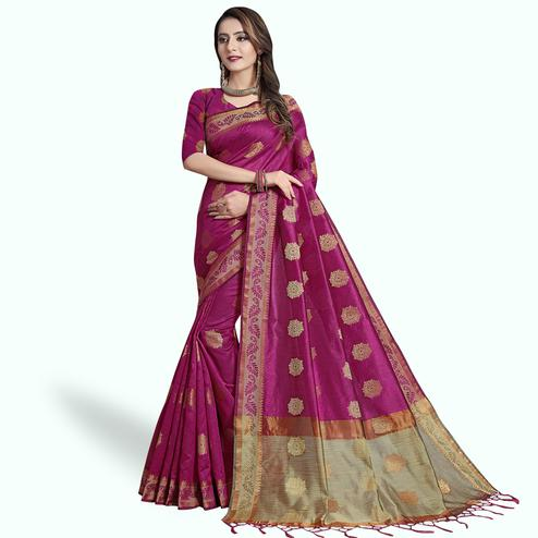 Opulent Rani Pink Colored Festive Wear Woven Cotton Silk Saree