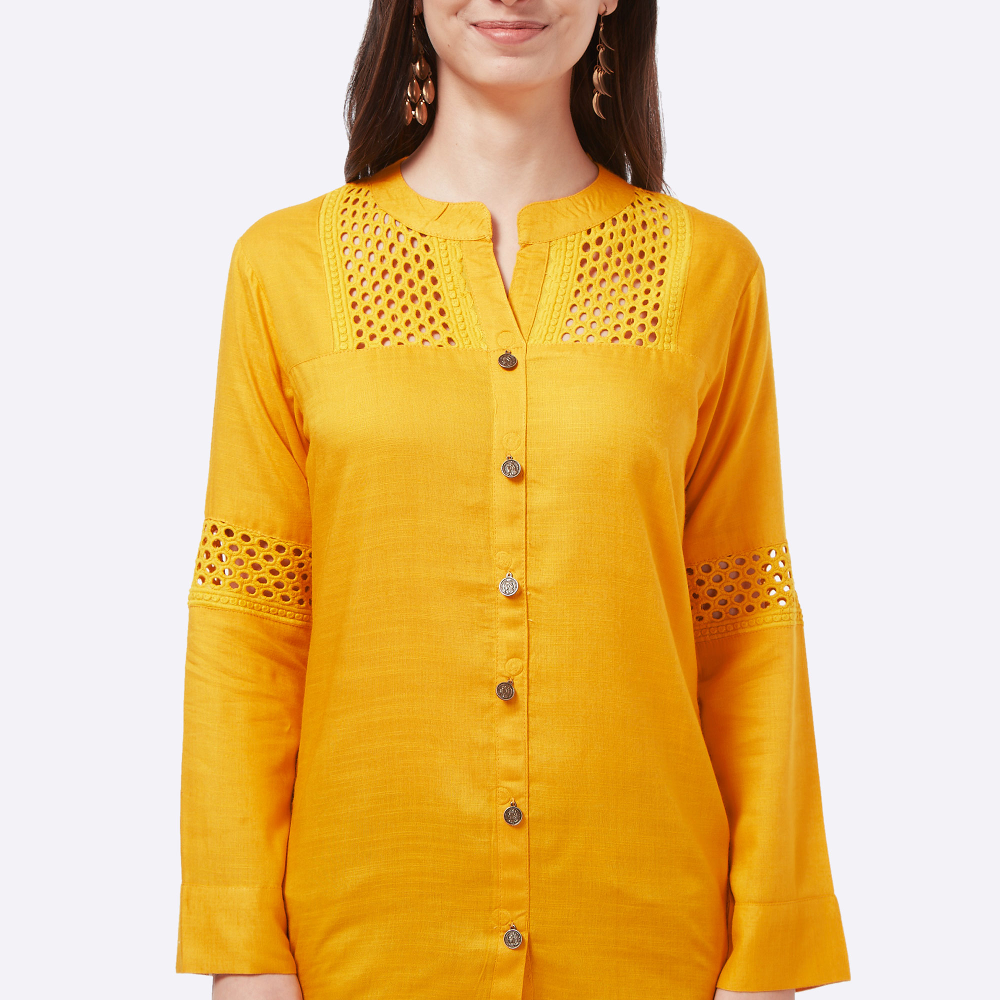 Intricate Yellow Colored Casual Embroidered Cotton Short Kurti