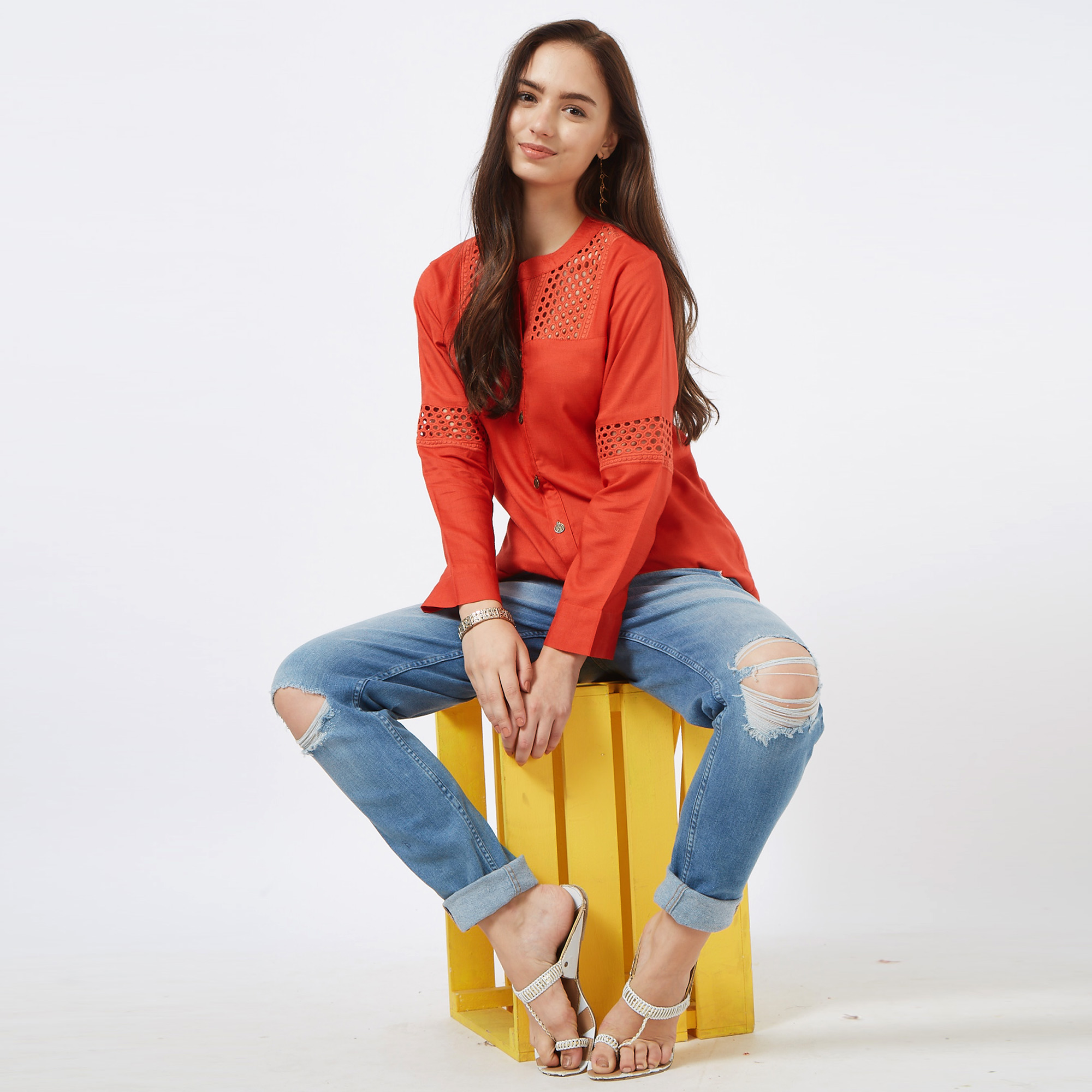 Arresting Red Colored Casual Embroidered Cotton Short Kurti