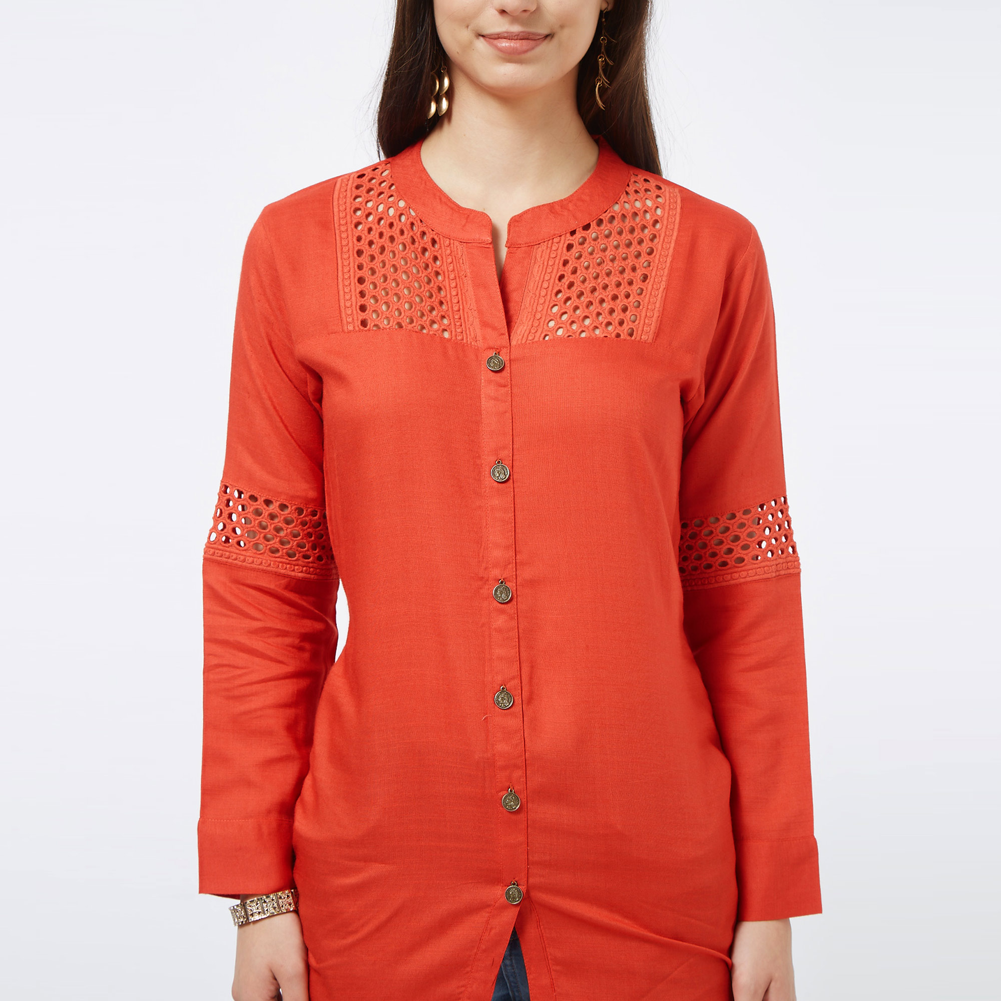 Arresting Red Colored Casual Embroidered Cotton Top