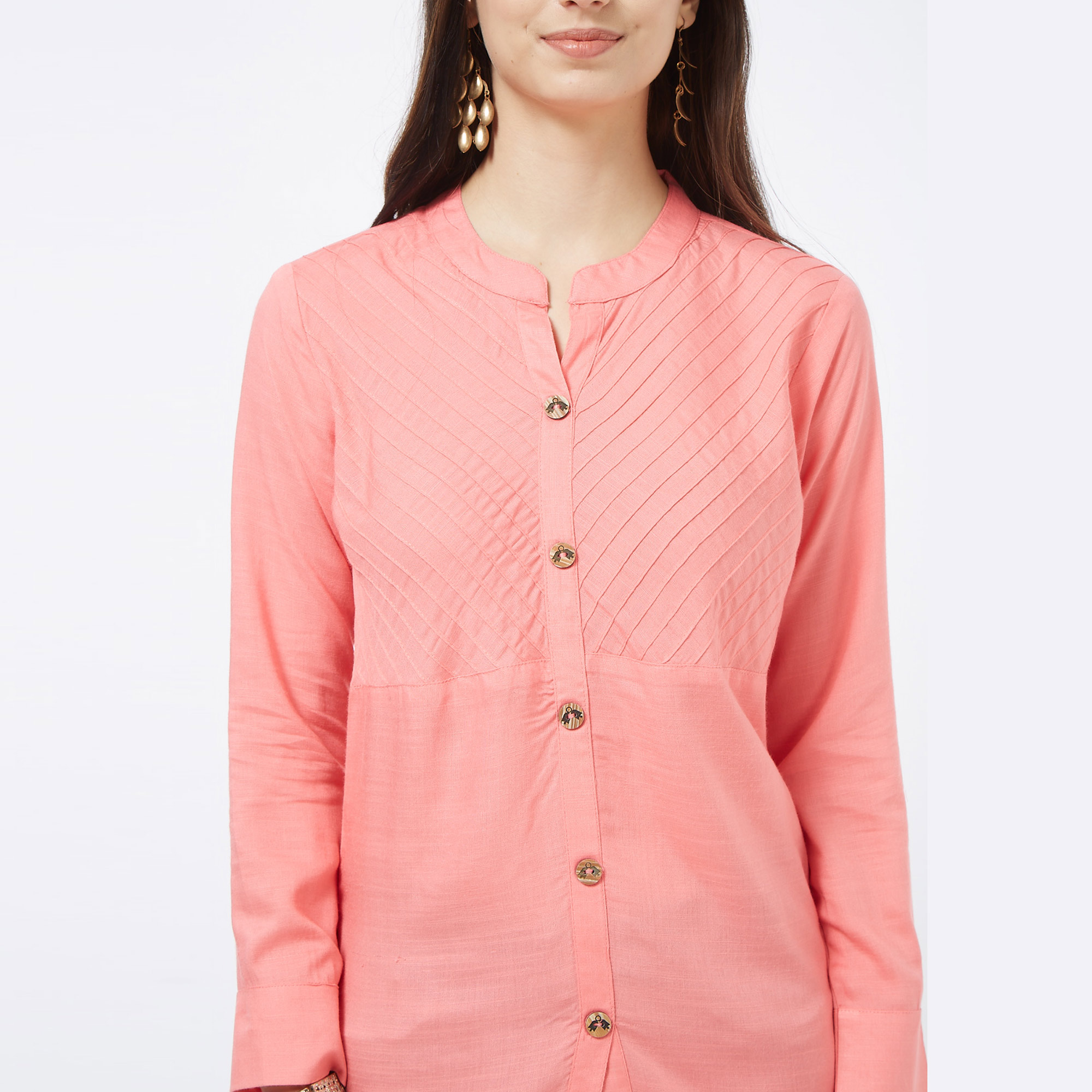 Desirable Pink Colored Casual Embroidered Cotton Short Kurti