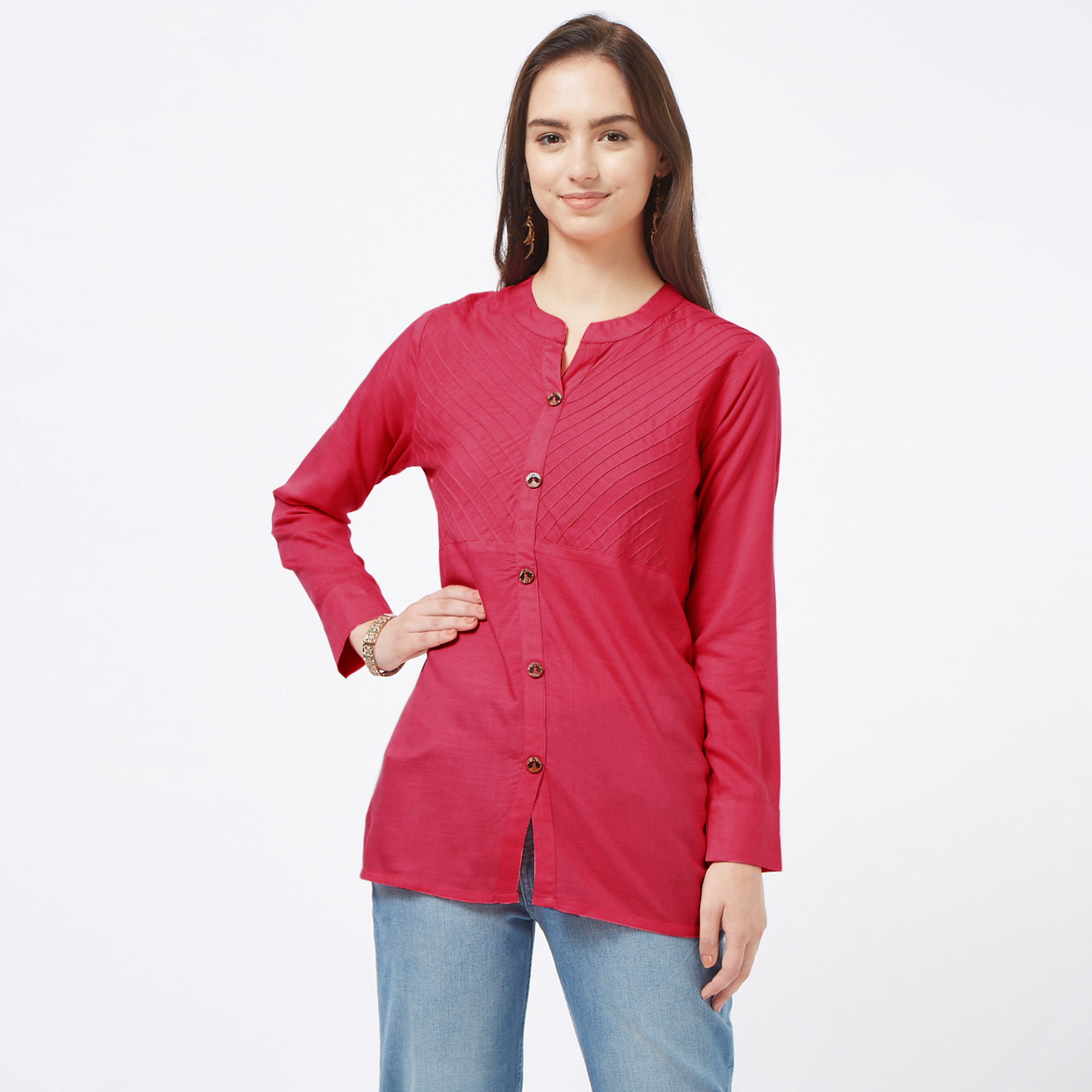 Desirable Pink Colored Casual Embroidered Cotton Top