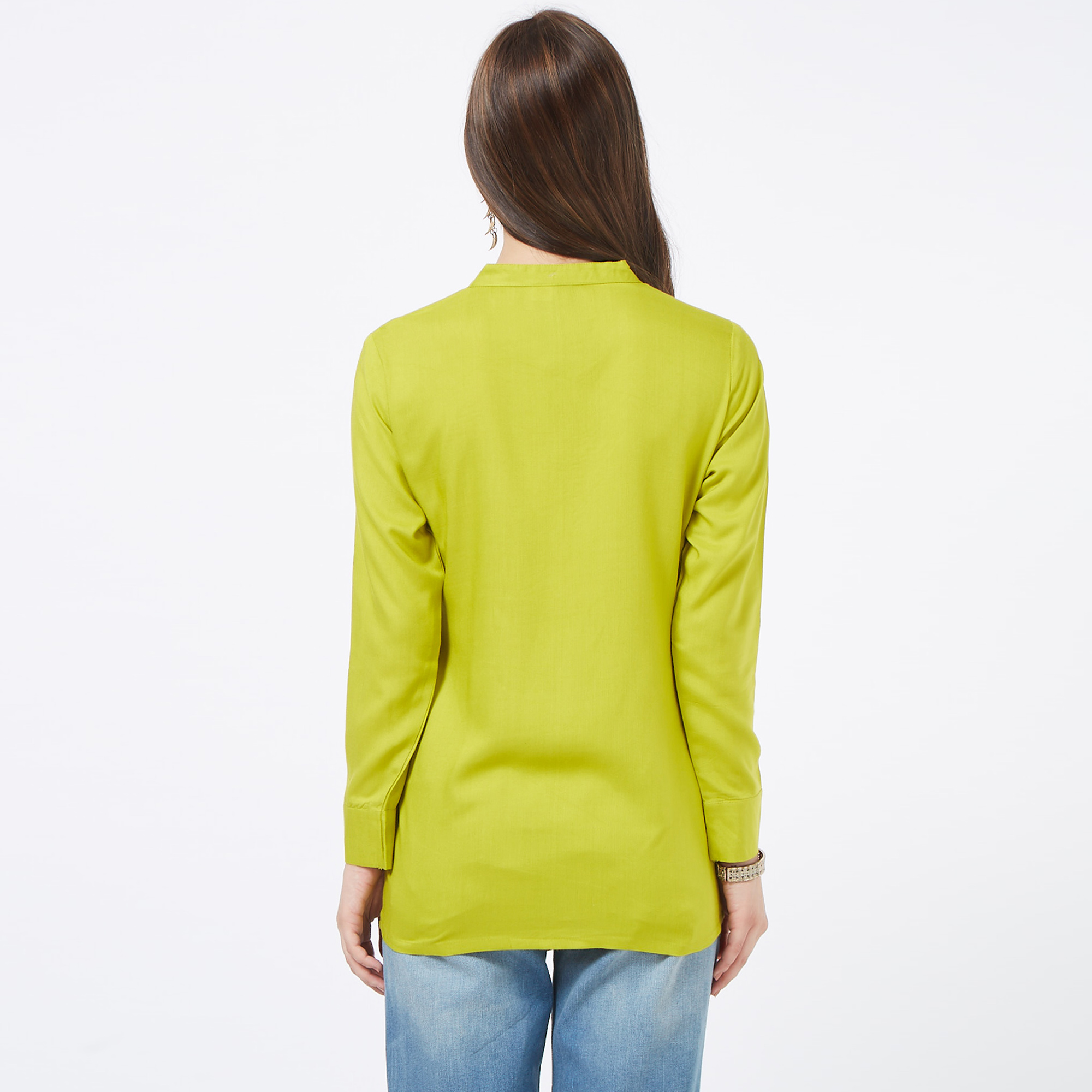 Sophisticated Green Colored Casual Embroidered Cotton Top