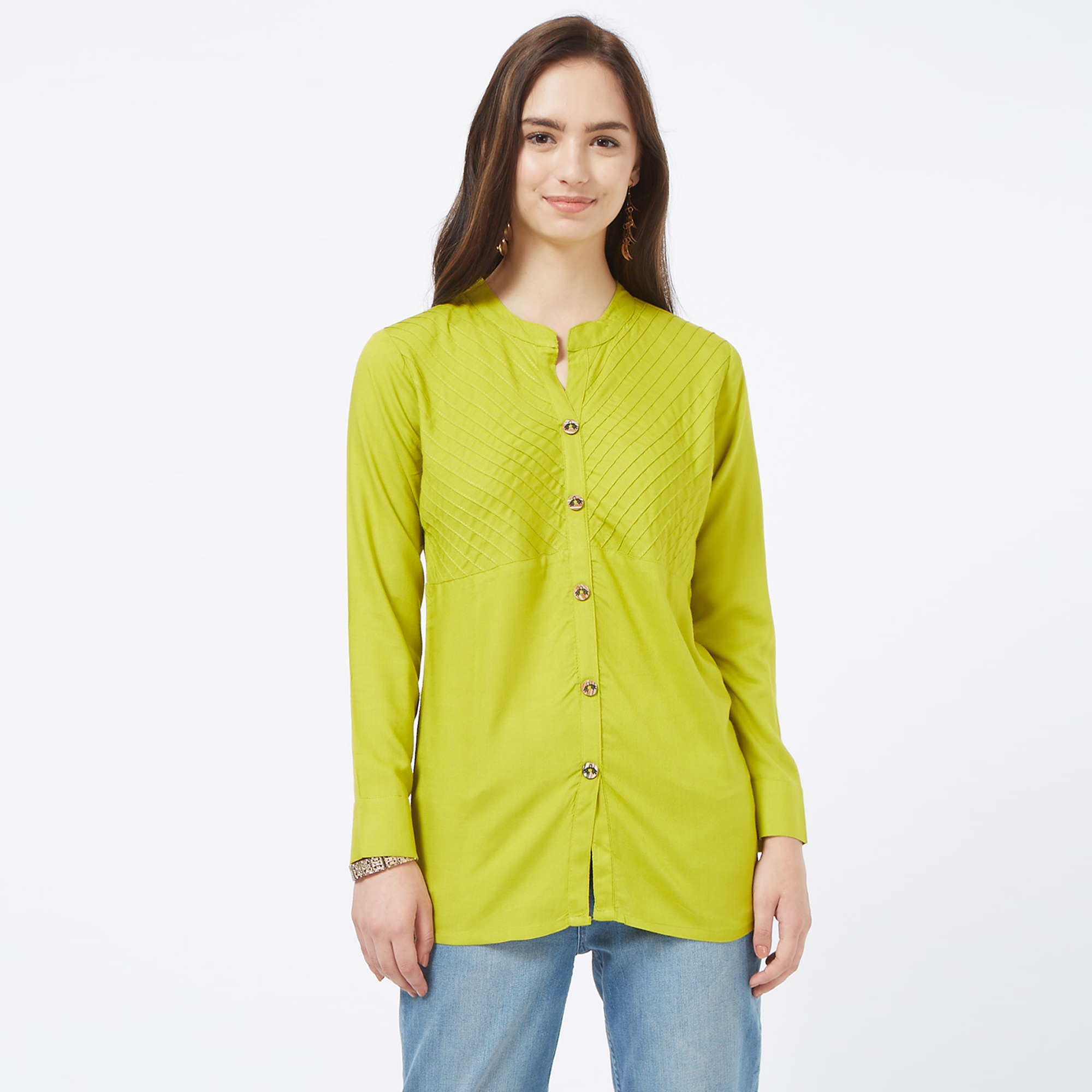 Sophisticated Green Colored Casual Embroidered Cotton Short Kurti