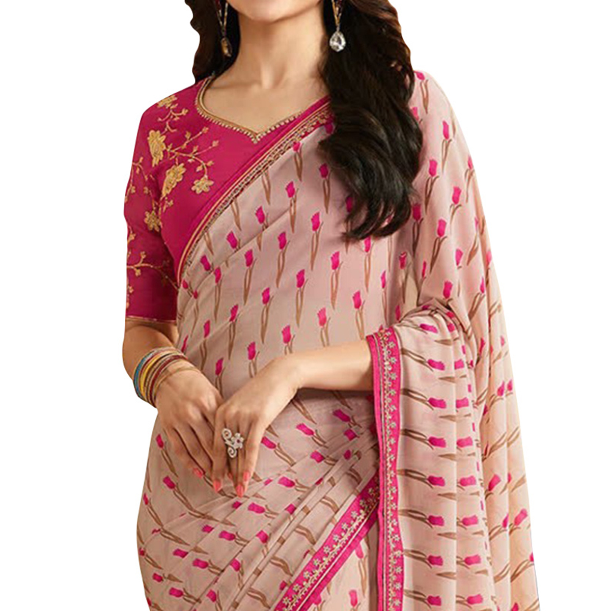 Stunning Pink Designer Partywear Printed Georgette Saree With Embroidered Blouse