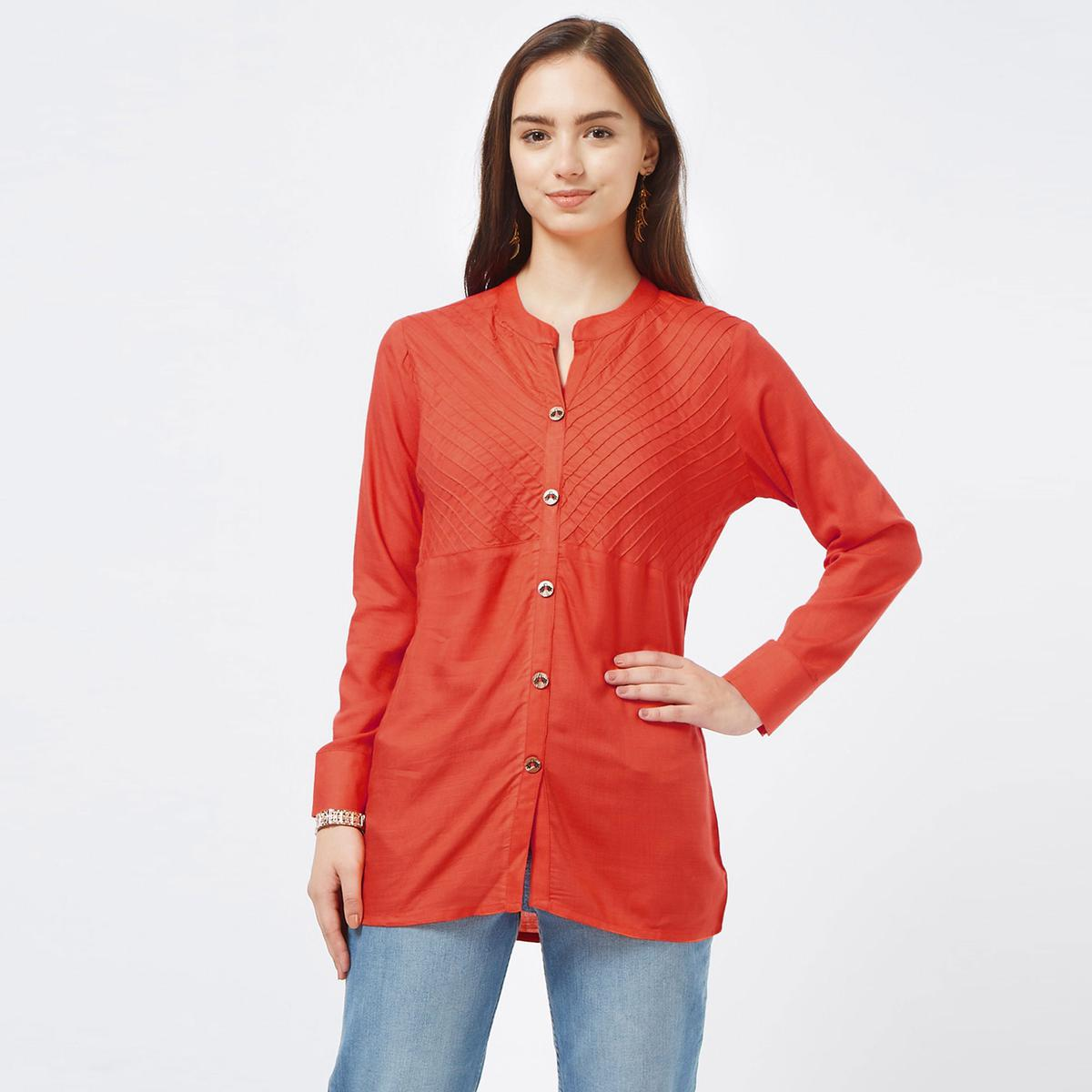 Trendy Coral Red Colored Casual Embroidered Cotton Top
