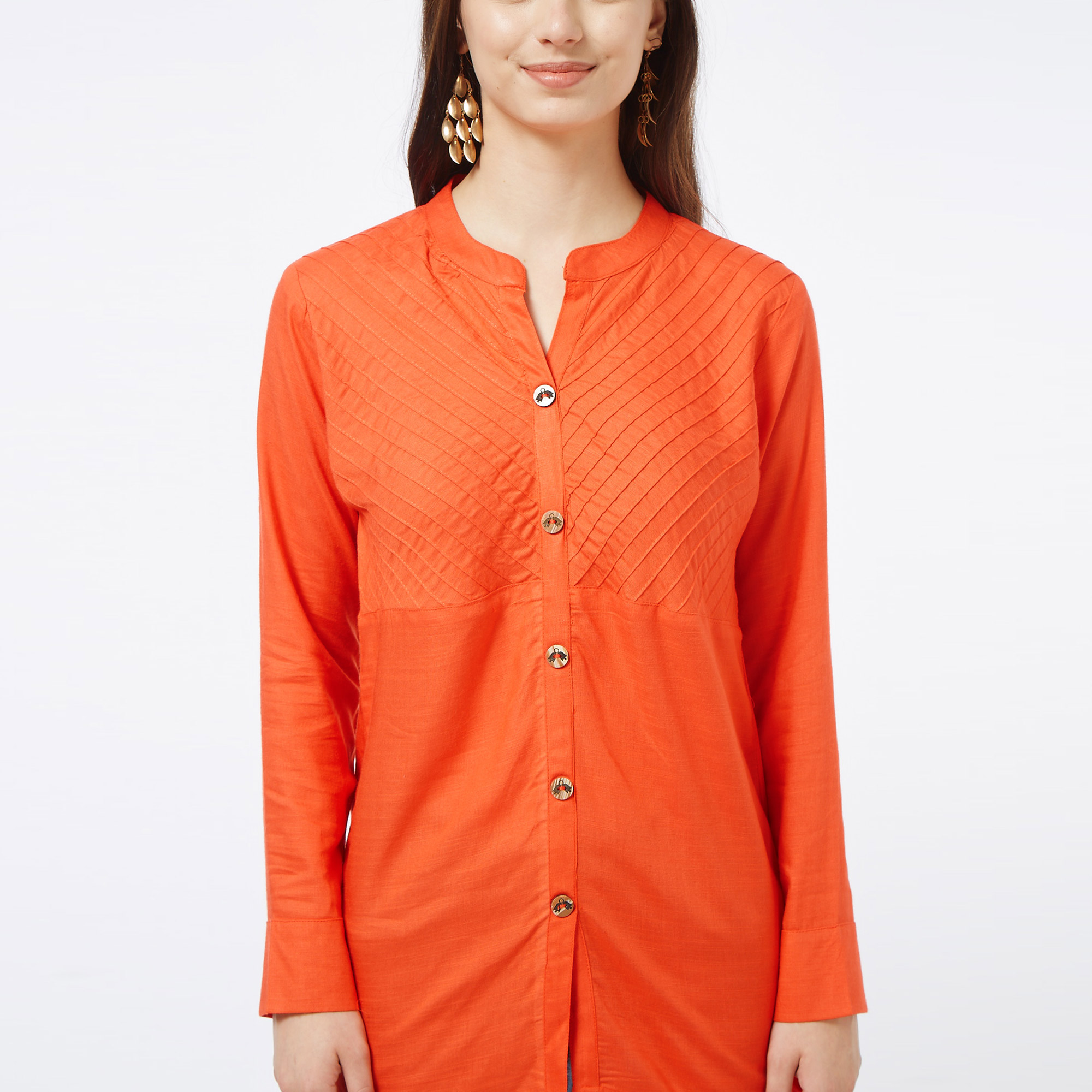Trendy Coral Red Colored Casual Embroidered Cotton Short Kurti
