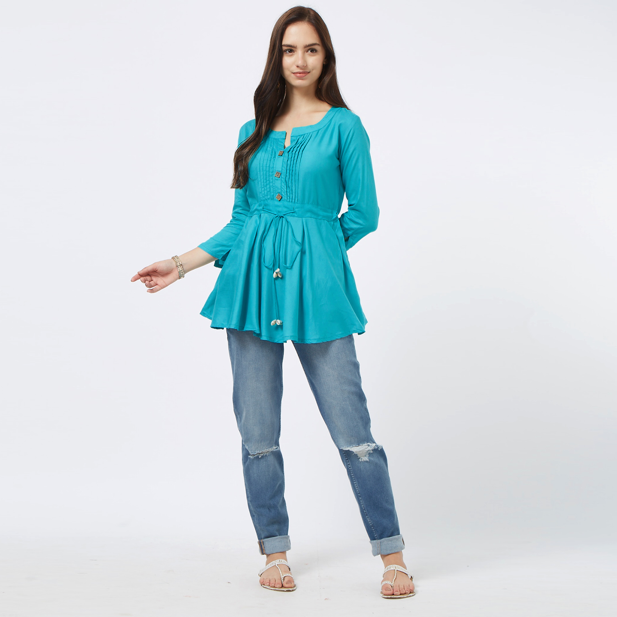 Elegant Aqua Blue Colored Casual Cotton Top