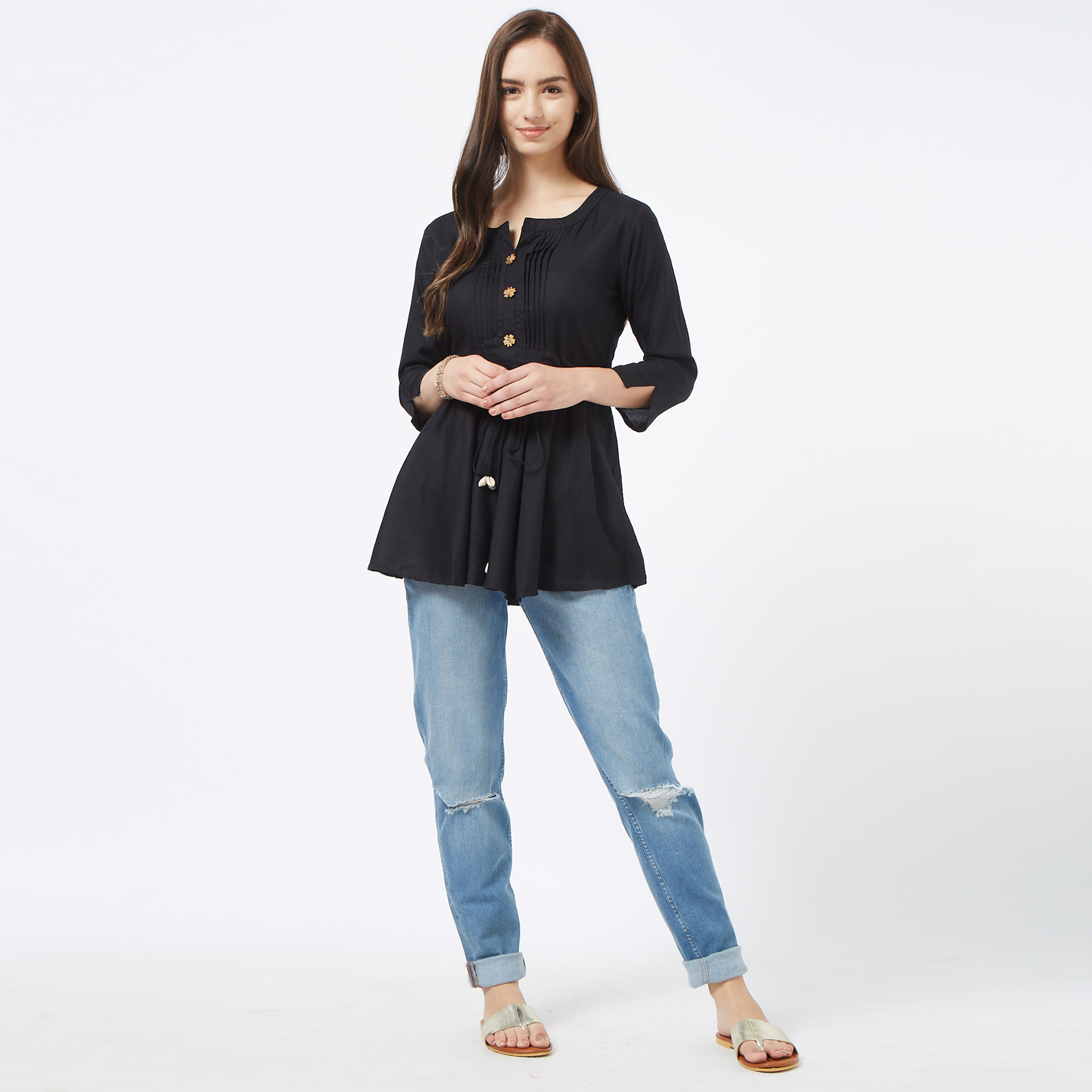 Radiant Black Colored Casual Cotton Short Kurti