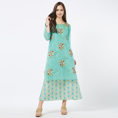 Marvellous Turquoise Green Colored Partywear Embroidered Chanderi Silk Kurti With Cotton Inner