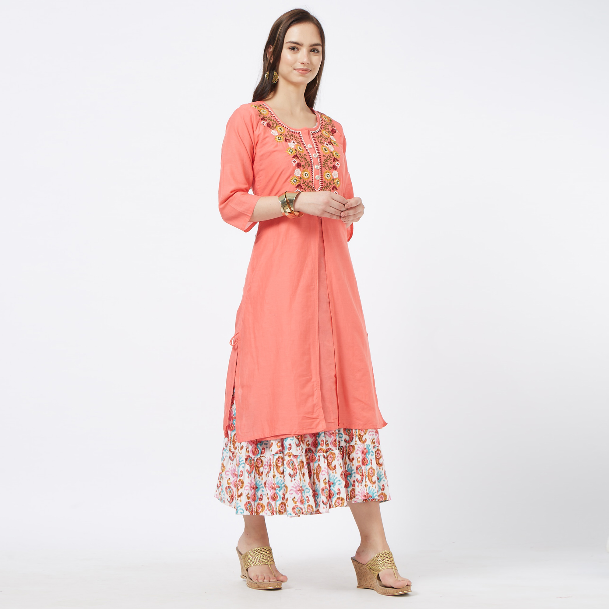 Stunning Pink-White Colored Partywear Embroidered Cotton Long Kurti