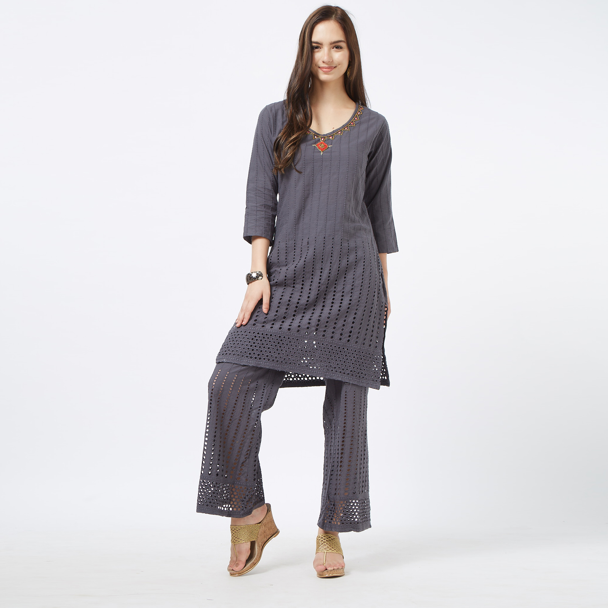 Prominent Gray Colored Partywear Embroidered Cotton Palazzo Suit