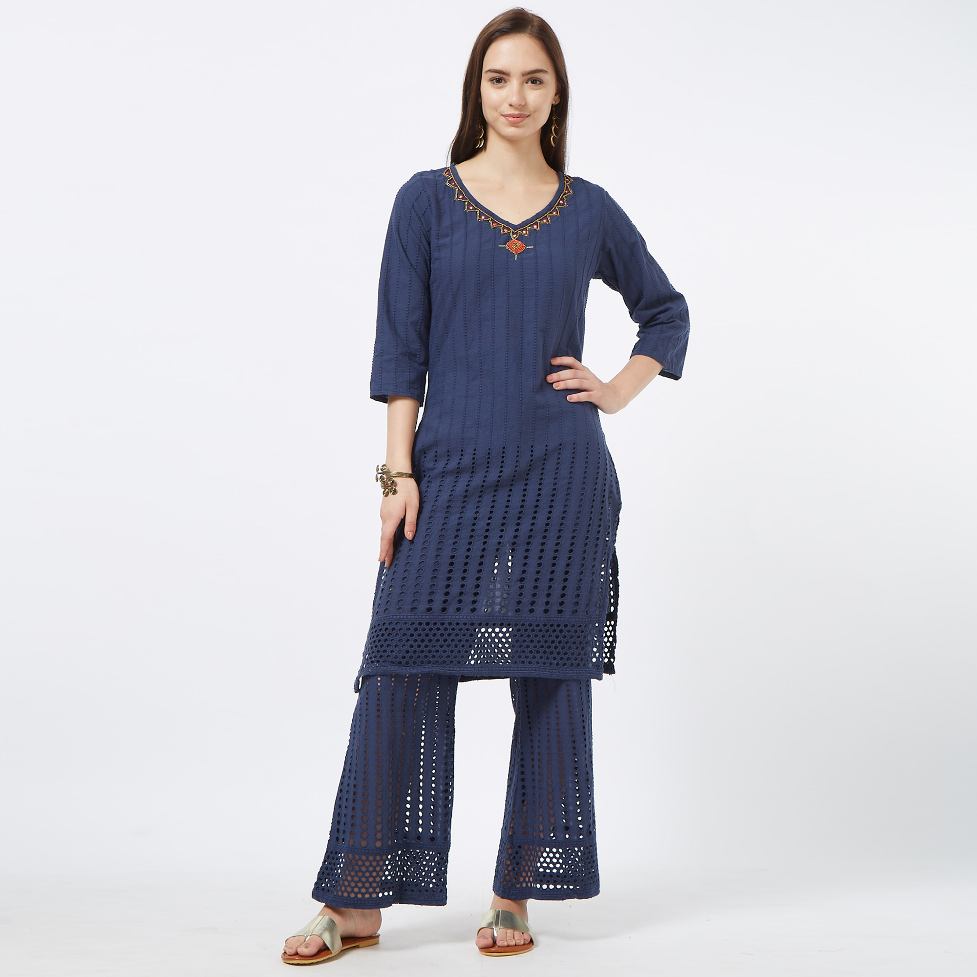 Groovy Navy Blue Colored Partywear Embroidered Cotton Palazzo Suit