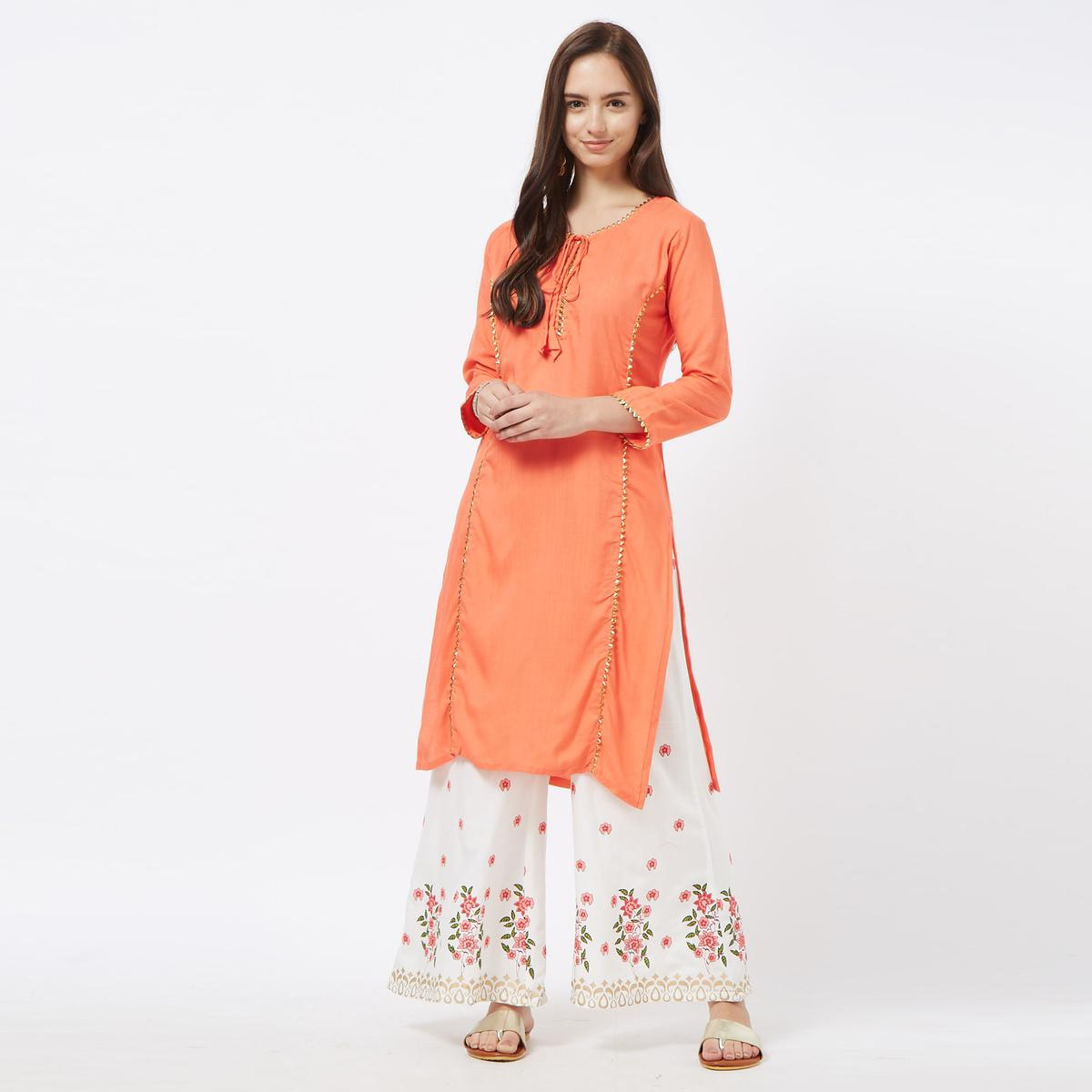 Entrancing Peach-White Colored Partywear Printed Cotton Palazzo Suit
