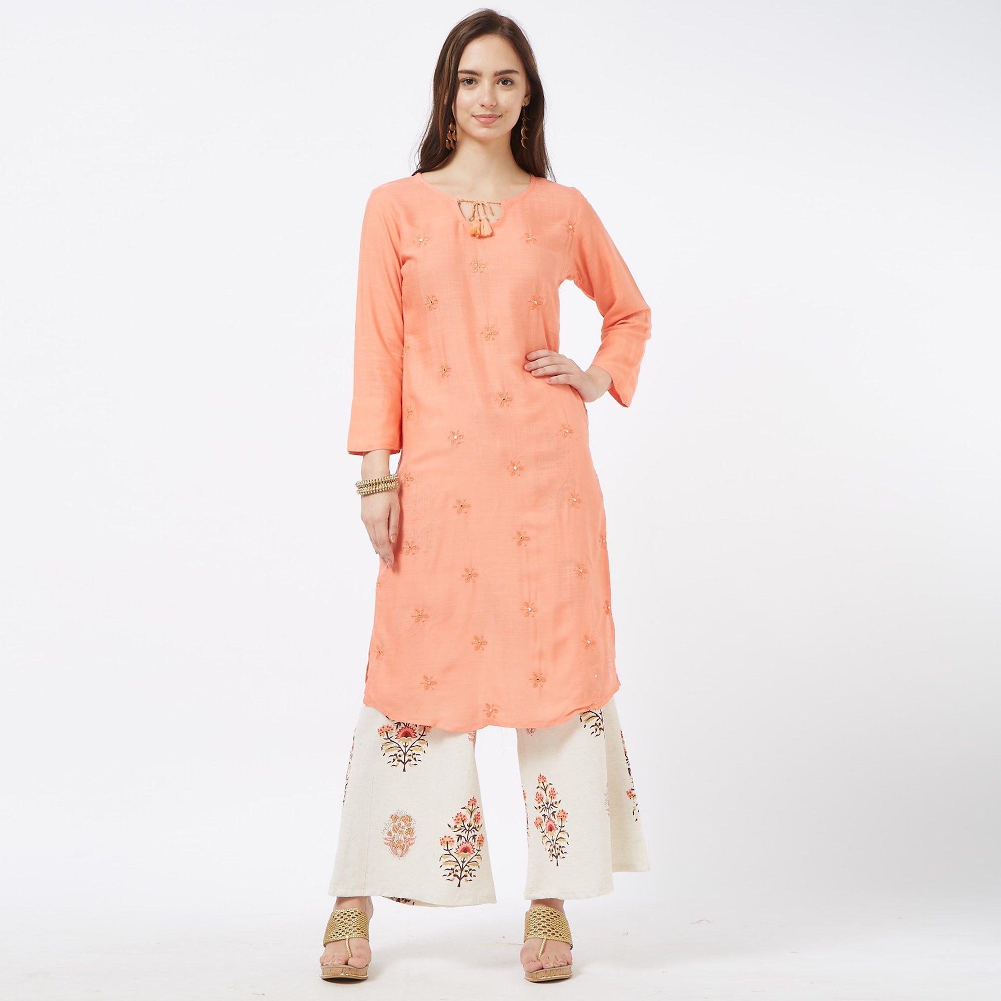 Capricious Peach-Off White Colored Partywear Embroidered Cotton Palazzo Suit