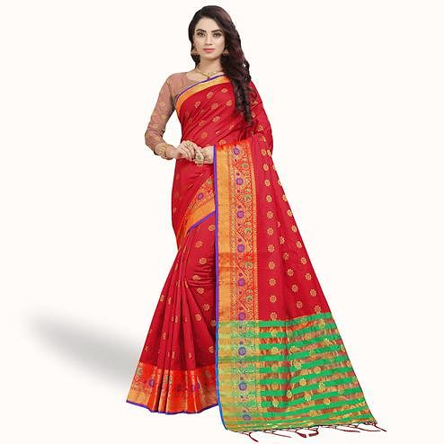 Demanding Red Colored Festive Wear Woven Silk Saree