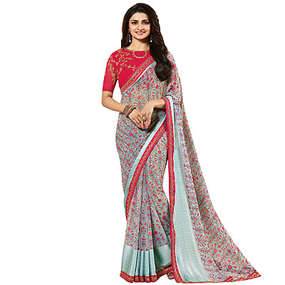 Ravishing Blue Designer Partywear Printed Georgette Saree With Embroidered Blouse