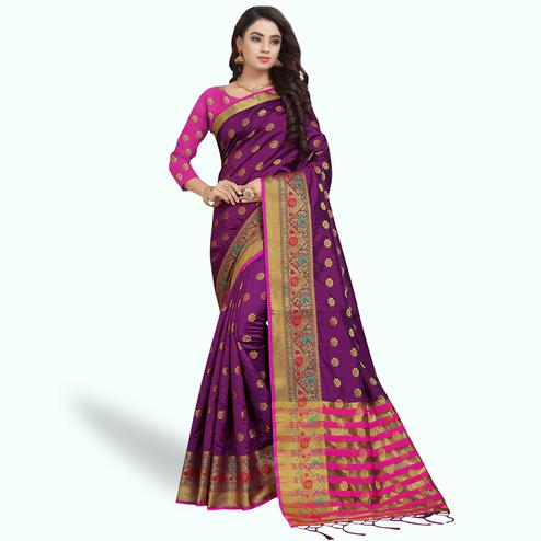 Hypnotic Purple Colored Festive Wear Woven Silk Saree