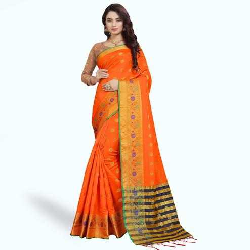Flattering Orange Colored Festive Wear Woven Silk Saree