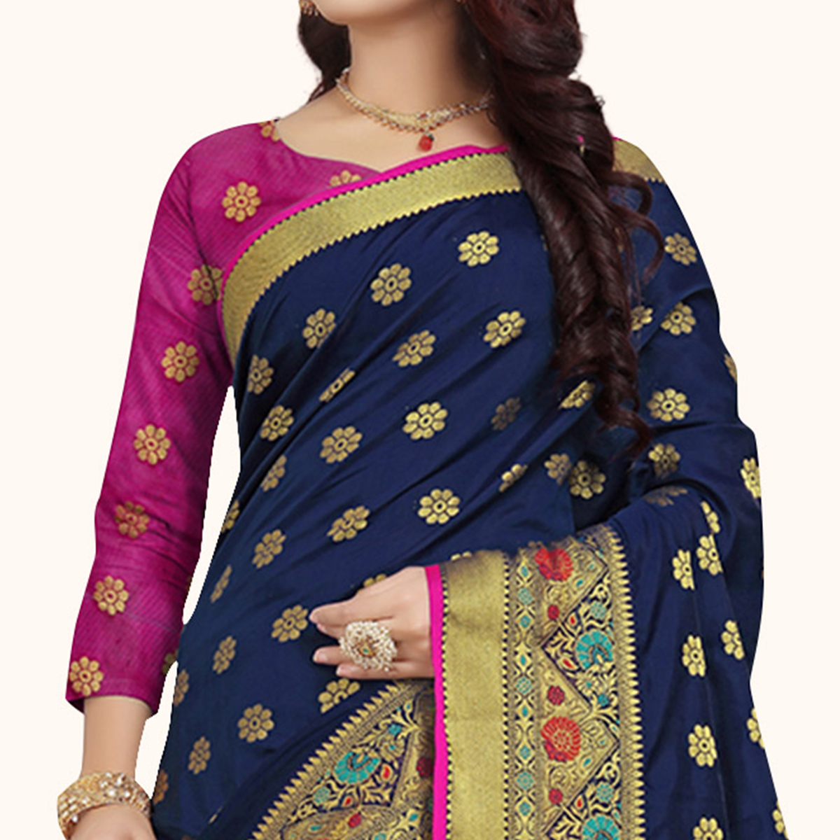 Radiant Navy Blue Colored Festive Wear Woven Silk Saree