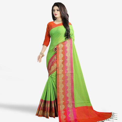 Impressive Green Colored Festive Wear Chanderi Silk Saree